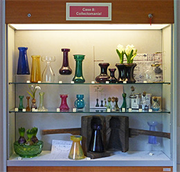 Exhibition of Patricia Coccoris' bulb vase collection at Broadfield House Glass Museum, Kingswinford